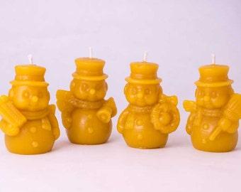 Beeswax  Snowmen Candles 4-pack