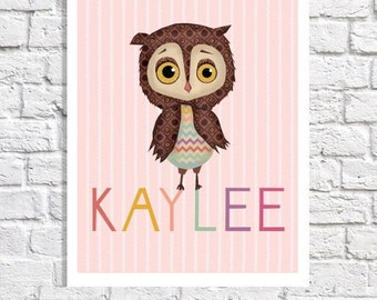 Baby Girl Name Artwork For Nursery Decor Girls Room Decoration Owl Name Sign Personalized Print Pink Owl Nursery Pictures Cute New Baby Gift