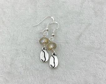 Coffee bean earrings, Coffee-lover earrings, Sterling silver earrings, Gift for coffee lover