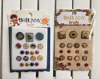 BoBunny Brads, Blast Off (19 pcs) or Enchanted Harvest (20 pcs), planner, scrapbook, card making, art journaling, mixed media, fasteners