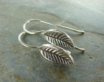 Leaf Ear Wires - Hill Tribe Fine Silver - Ear Wires - Earwires - Earring Findings - Findings - Jewelry Supplies - Silver Ear Wires - ewhtl