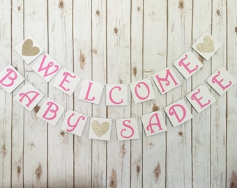 Welcome baby banner, welcome baby sign, baby shower decor, pink and gold baby shower, baby shower banner, pink and gold shower decor