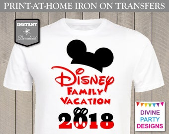 INSTANT DOWNLOAD Print at Home Classic Mouse Disney Family Vacation 2018 Printable Iron On Transfer / T-shirt / Trip / Item #2401