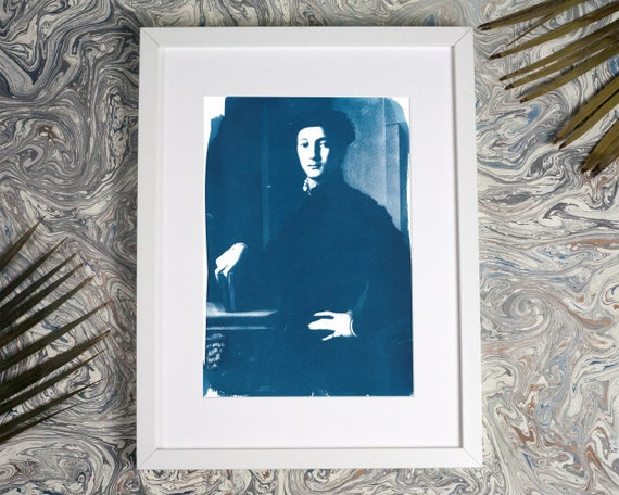 Young Man Portrait of Bronzino, Cyanotype Print on Watercolor Paper, Renaissance, Art History, Book Lover, Boho Prints Wall Art, Art Print