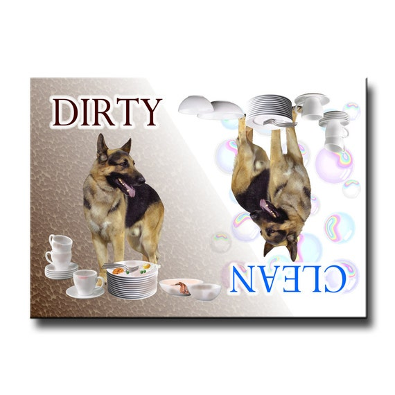 German Shepherd Clean Dirty Dishwasher Magnet