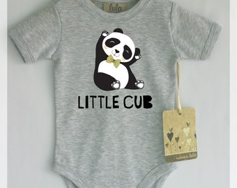 Baby bear bodysuit. Little cub baby clothes. Baby clothes with bear print. Modern baby clothes. With or without text.