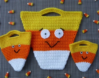 Candy Corn Halloween Bag Set Crochet PATTERN - INSTANT DOWNLOAD