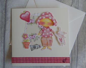 Handmade 3d Tilda Little Gardener Greetings card/ Birthday/Celebration/Child's Card