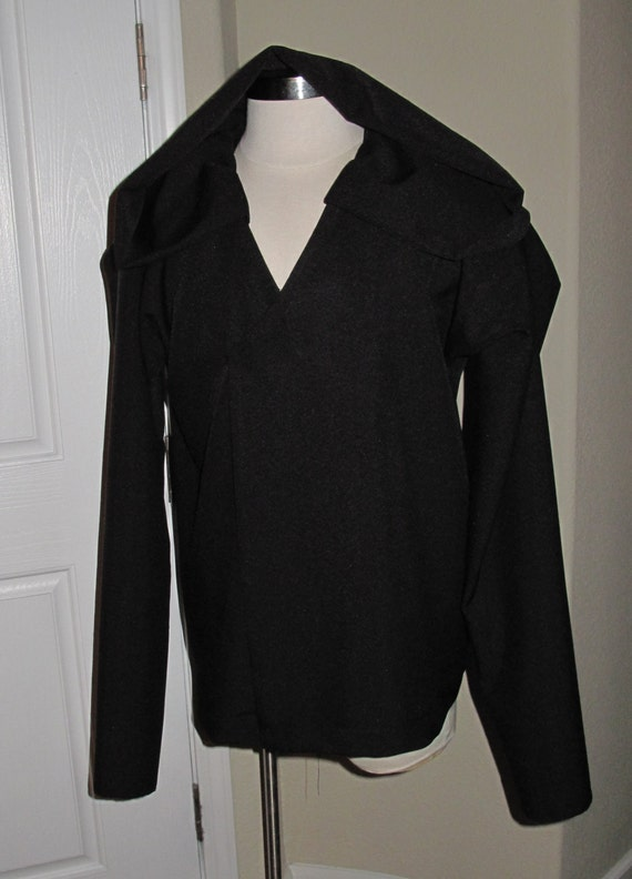 Cosplay black under tunic costume shirt with a deep hood