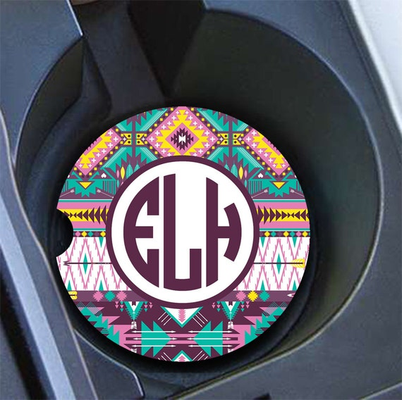 Tribal car coaster Aztec car cup holder coaster Personalised