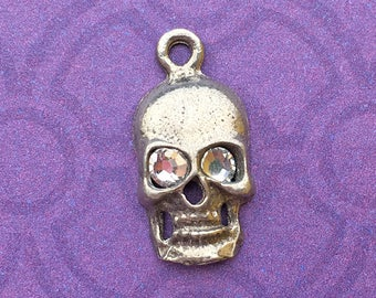 Handmade Skull Charm with Clear Crystal Eyes, April Birthstone, Lead Free Pewter, about 17mm x 9mm