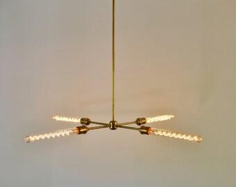 Modern Brass Chandelier, Mid Century Starburst Sputnik Chandelier Lighting Fixture, 4 Arms & Sockets, BootsNGus Lighting and Home Decor