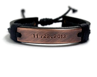 Mens Personalize Bracelet, Valentine's Day Men Bracelet ,Custom Leather Bracelet, Men Leather Bracelet, Engraved Bracelet, Cuff Bracelet