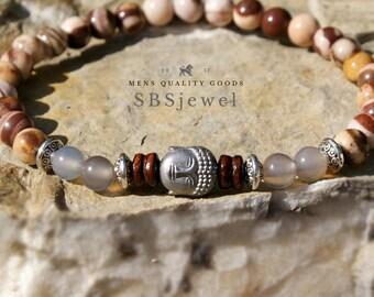 Men Bracelet JASPER BRACELET Australian Jasper Gemstone Bracelet Healing Bracelet Stretch Bracelet Buddha Bracelet Mens Beaded Bracelet