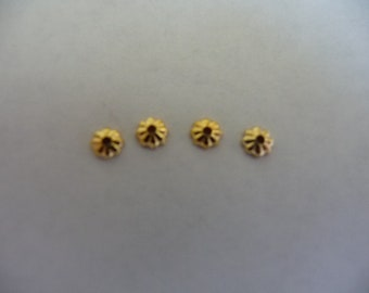 Bead cap, gold-plated brass, 3.5mm ribbed, Pack Of 18 bead caps.