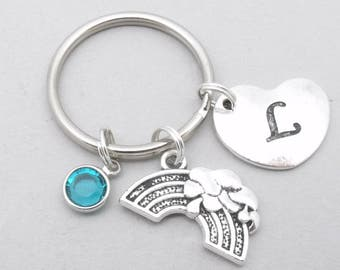 Rainbow heart initial keyring | rainbow keychain | personalised rainbow keyring | rainbow accessory | rainbow gift | letter | birthstone