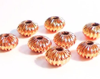 8 Genuine Copper Big Hole Fluted Rondelle Beads Solid Copper GC-200