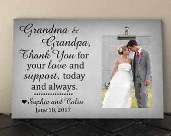 GRANDPARENTS THANK YOU Wedding Gift, Free Design Proof, Personalized Frame, Thank You for your Love and Support, Grandma, Grandpa   ty02