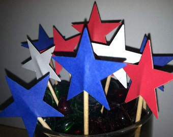 24 Star cupcake toppers-appetizer picks