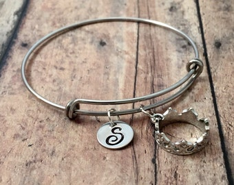 Crown initial bangle - crown jewelry, pageant bracelet, silver crown pendant, princess jewelry, pageant jewelry, royal crown bracelet