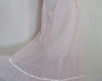 1960s Nightgown Mad Men Nightgown Nylon Nightgown Pink Nightgown Short Nightgown