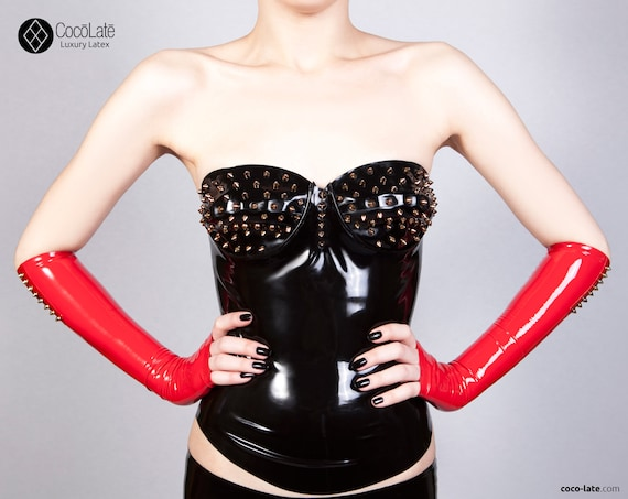 Maia Latex Top With Spikes Appliqué