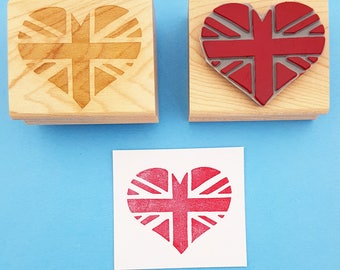 Union Jack Heart British Flag Stamp - Rubber Stamp - English Stamper - Great Britain - Scrapbooking - Made in Britain