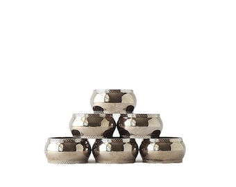 Vintage Napkin Rings Silver Plate Set of Six Kitchen Table Decor Matching Napkin Rings Silver FREE SHIPPING