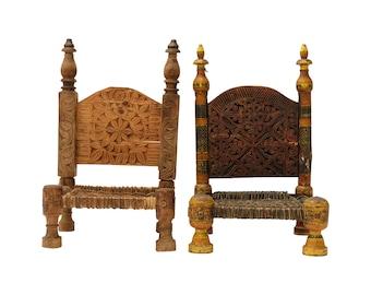 19th Century Rajasthani 'Pida' Tribal Low Chairs