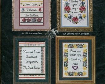 """Four Counted Cross Stitch Kits 5"""" x 7"""" by Sandi Phipps Mother Husband Lovers #86 Kit Unopened"""