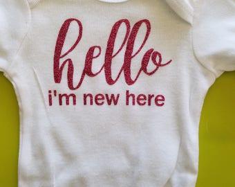Hello, I'm New Here Baby Onsie