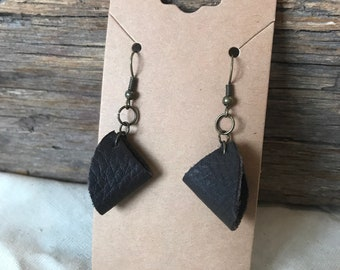 Black Upcycled Folded Leather Earrings