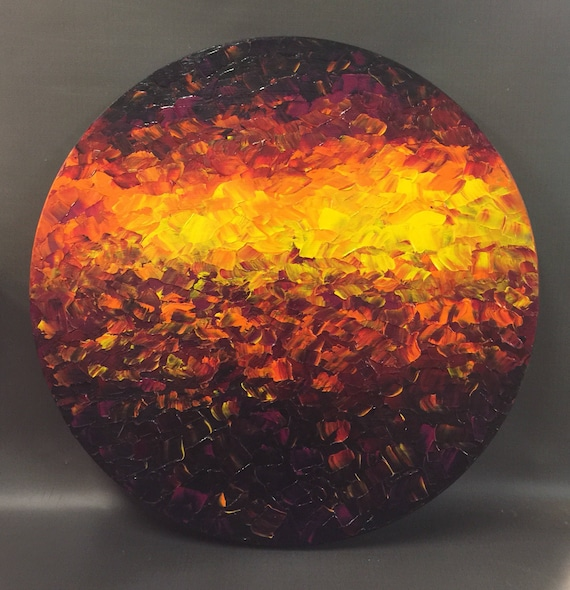 """ORIGINAL abstract pallette knife painting, 18"""" diameter on wood panel by Mell Smith."""