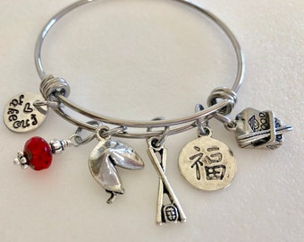Chinese Takeout Bangle, Fortune Cookie Bangle, Chopsticks, Good Luck Charm, Chinese Food Lover, Pewter Charms, Adjustable Stainless Steel