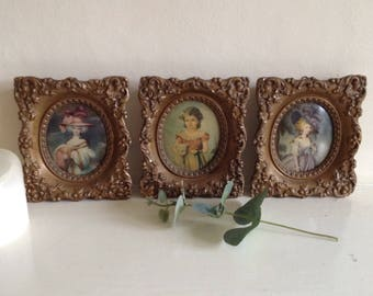 Small Lithograph French prints in deep Gesso decorative frames.