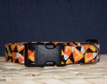 Halloween Dog Collar – Candy Corn Dog Collar – Trick or Treat Dog Collar - Handmade Fabric Dog Collar