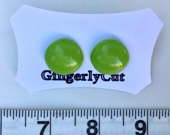 Green earrings, Bright green earrings, Green button earrings, Vintage button earrings, Green stud earrings, Saint Patrick earrings,