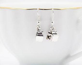 Milk Carton Earrings, Silver Earrings, Cute Earrings, Dangle Earrings, Handmade Jewelry