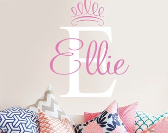 Personalized Name and Initial with Princess Crown Vinyl Wall Decal- Girls Bedroom Decor-Teen-Tween-  Wall Art- Personalized Name- Monogram