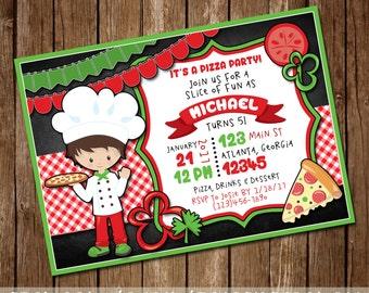 Pizza Party Invitation - Girl or Boy's Pizza Birthday Invite - Pizza & Pajamas - Make a Pizza Party - Pizza Chef - 5x7 - Digital Download