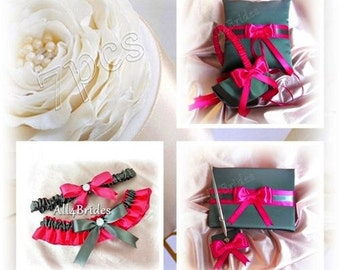 Weddings Dark grey and hot pink flower girl basket, ring barer pillow, bridal garters, guest book and pen set.