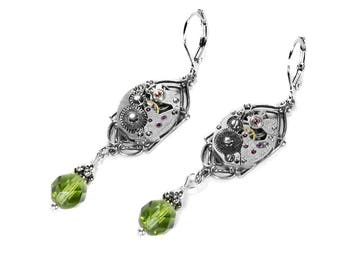 Steampunk Jewelry Earrings Silver ART DECO Watch PERIDOT Crystal Dangle Earrings, August Birthstone Mothers Day Gift - Jewelry by edmdesigns