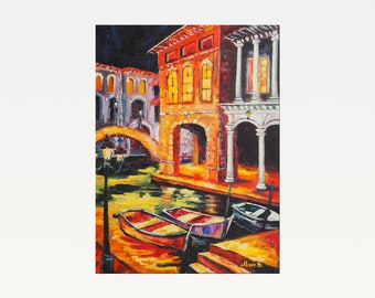 Venice in the night - Original oil painting on canvas - Modern Art