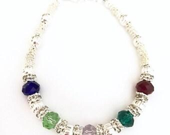 Mothers Bracelet, Personalized Mothers Bracelet, Rhinestone Birthstone Bracelet (B112)