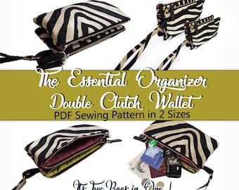 The Essential Organizer Double Clutch PDF Sewing Pattern. Bag sewing pattern. Purse pattern
