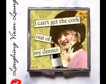 Compact Mirror - Wine Gift Pill Box - Hand Mirror - Pill Case - Purse Mirror - Pill Holder - Bag Mirror - Makeup Mirror - SVL I Can't