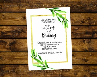 PRINTABLE Wedding Invitation, Greenery Wedding, Custom Wedding Invitation, Gold Wedding, Floral Wedding
