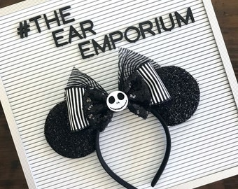 Jack Skellington Nightmare Before Christmas Inspired Mouse Ears Headband ~ The Pumpkin King