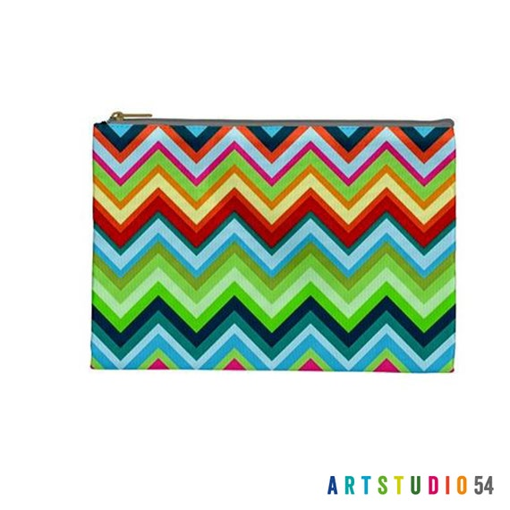 """Zig Zag Chevron Colorful Bright Pattern on a Pouch, Make Up, Cosmetic Case Travel Bag Pencil Case - 9"""" X 6"""" -  Large -  Made by artstudio54"""
