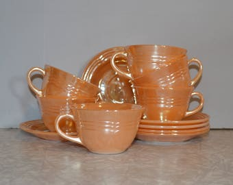 Fire King Peach Lustre Tea Cup set of 6